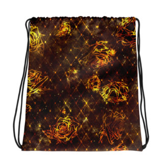 Diamond Rose Drawstring bag - Maroon Gold