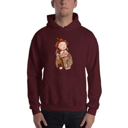 Chibi Furisode Samantha Unisex Hooded Sweatshirt Maroon