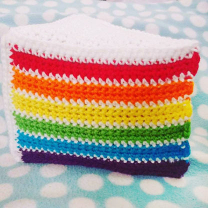 Crochet Cake Slice Pillows - Bite Size Rainbow Cake