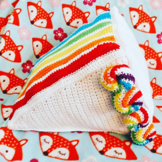 Crochet Cake Slice Pillows - Too Much to Chew Rainbow