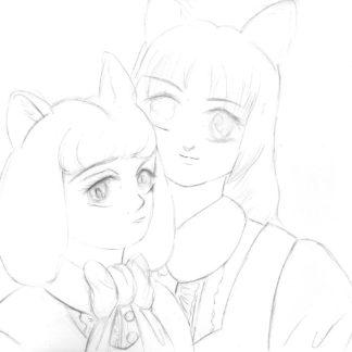 Cat Sisters Pencil Drawing 1